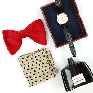 Vintage Red Velvet Bow Tie